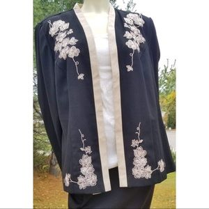 Dressbarn Black Embroidered Jacket,  18W